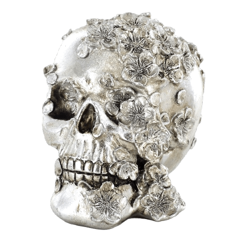 Metallic Silver Finish Gothic Skull with Flowers